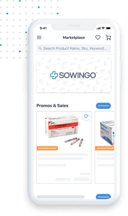 Phone with Sowingo Marketplace app displaying dental products