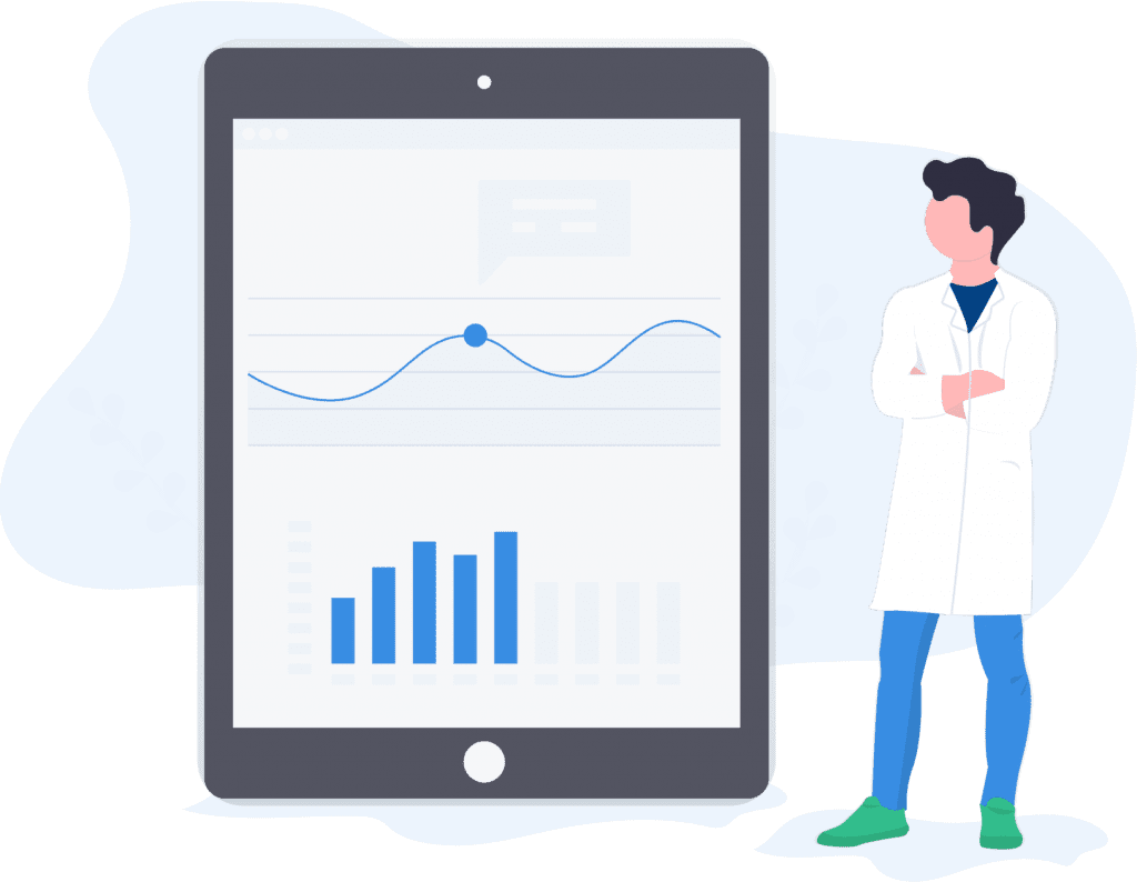 Dentist standing next to tablet with analytics displayed