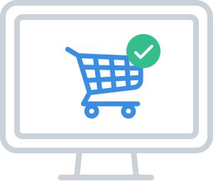 Shopping Cart Icon on Computer Screen