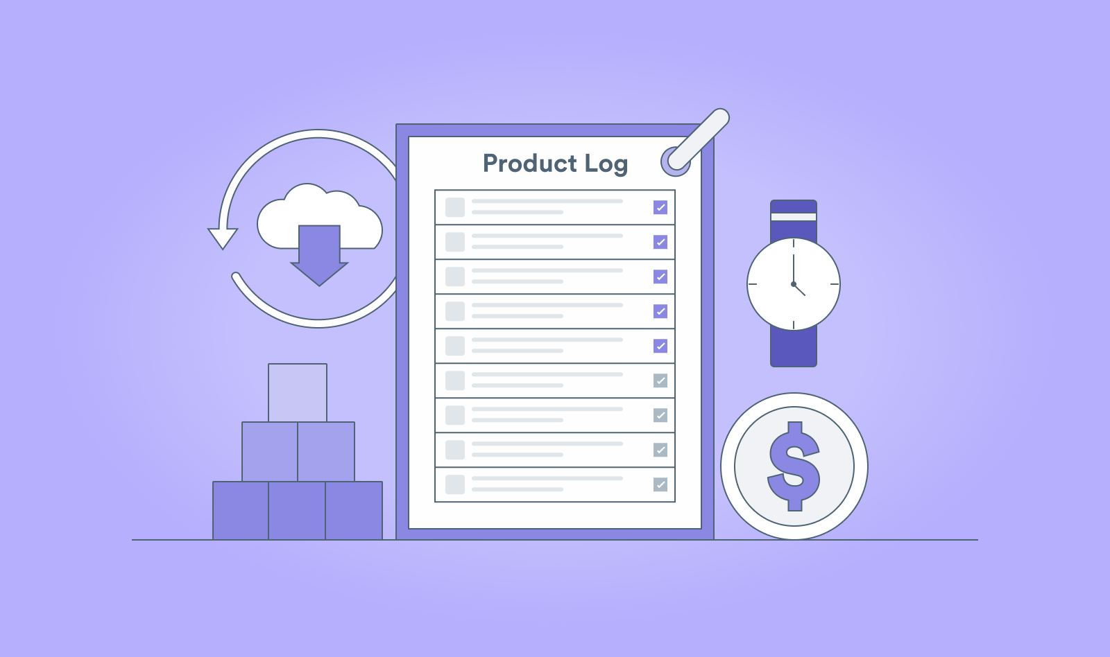 Illustration of product logging, saving money, saving time and product organization