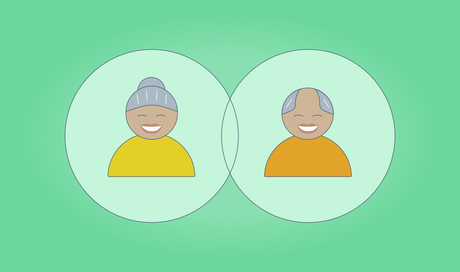 Two seniors smiling in circles in a vector drawing