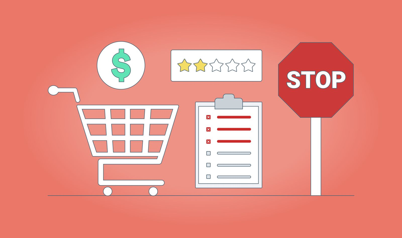 7 shopping mistakes dental practices make with illustrated icons and red background