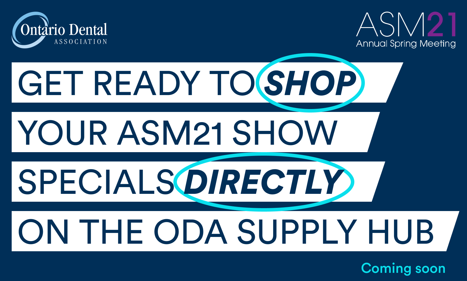 Announcement of the ODA ASM21 show specials on the ODA supply hub