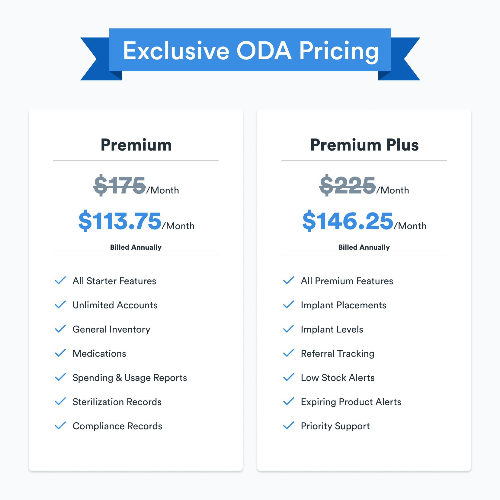 oda member pricing for premium and premium plus plans