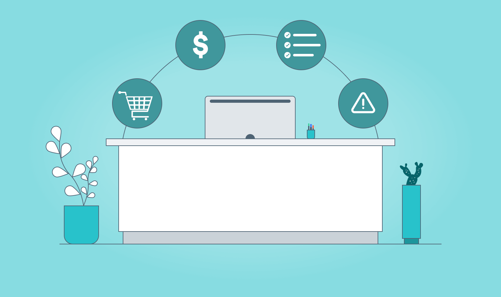 Desk and computer with floating icons depicting all the benefits of software management tools