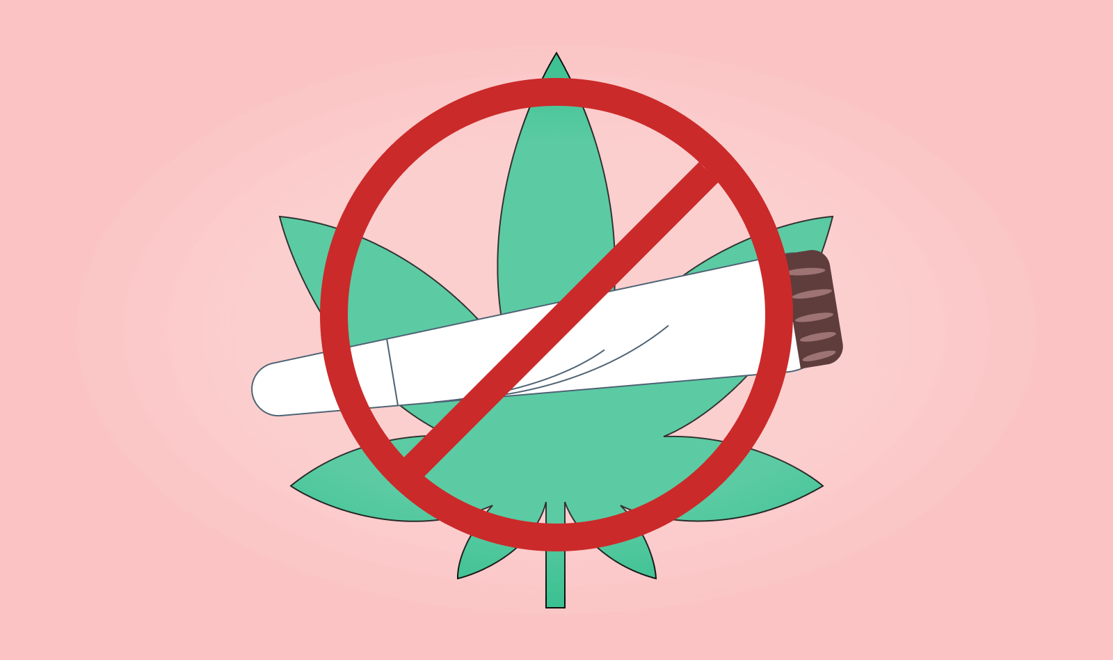 A Cannabis leaf and joint with a large red cross through it