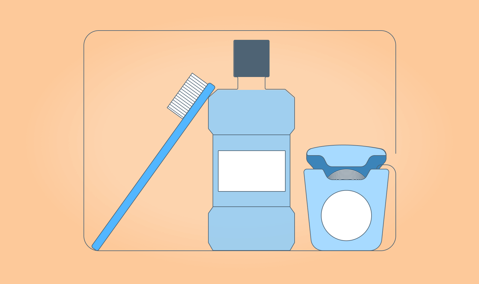 A toothbrush, mouthwash bottle and floss container with floss